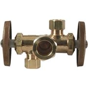 Dual Outlet, Dual Shut-Off Stop-Compression Inlet Rough Brass