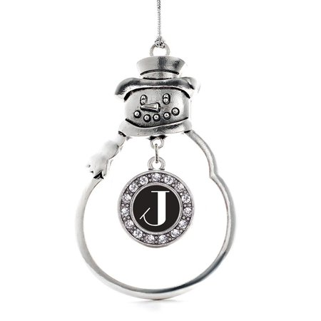 My Vintage Initials - Letter J Circle Snowman Holiday Ornament](Female Snowman)