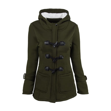 Women Fashion Claw Clasp Wool Blended Classic Pea Coat Zipper Jacket Plus Size ()