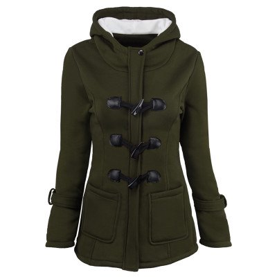 Women Fashion Claw Clasp Wool Blended Classic Pea Coat Zipper Jacket Plus