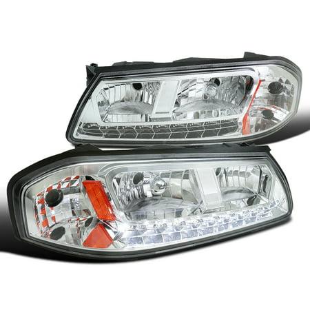 2000 2005 Chevy Impala Chrome Housing Clear Crystal Lens Led Smd Headlights Pair 00 01 02 03 04 05