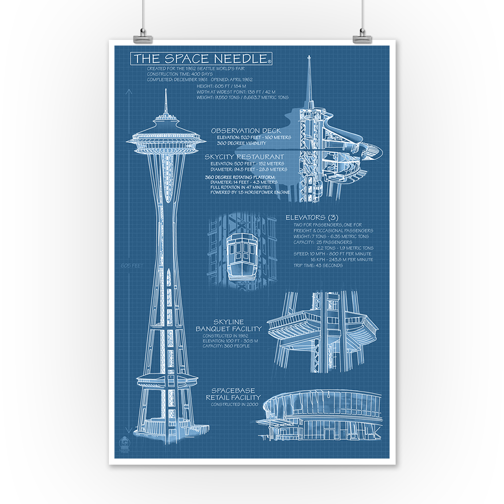Seattle Washington Space Needle Technical Drawing Blueprint 360 Engine Diagram Lantern Press Artwork 9x12 Art Print Wall Decor Travel Poster