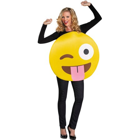 Tongue Emoticon Neutral Adult Halloween Costume for $<!---->