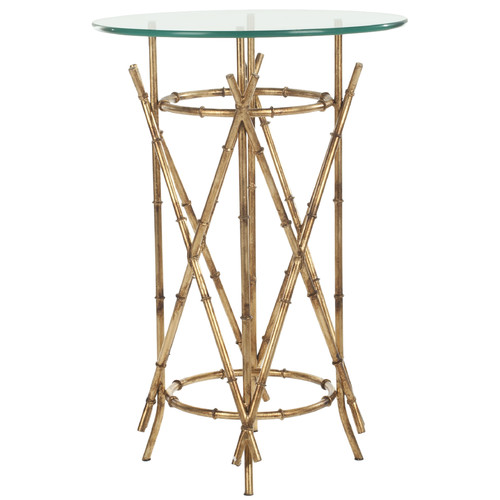 25.7 in. Accent Table with Clear Glass Top