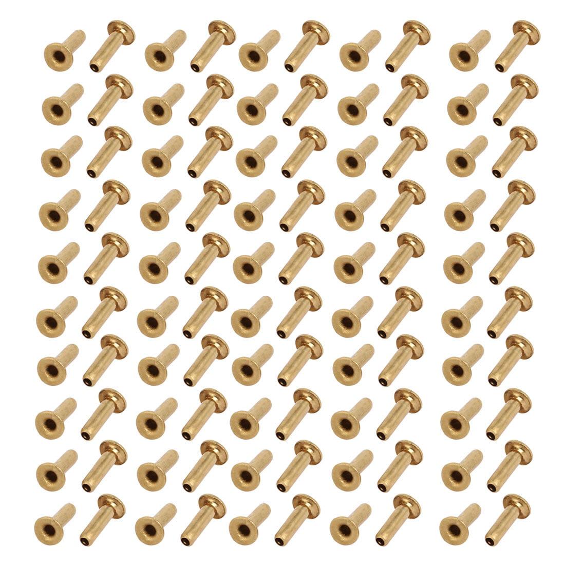 100pcs M2x7mm Brass Plated Metal Hollow Eyelets Rivets Gold Tone