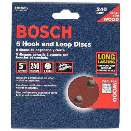 SR5R240 5-Piece 240 Grit 5 In. 8 Hole Hook-And-Loop Sanding Discs, Open-coat, resin-bonded aluminum oxide abrasive provides long life and fast material removal on.., By