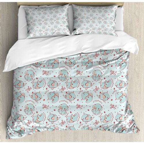 Ambesonne Elephant Nursery Wild Animals Pattern for Children Calves Duvet Set