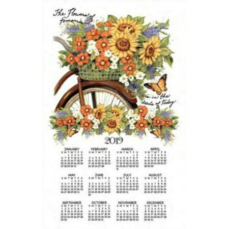 Kayo Designs - 2019 Bicycle Floral Towel Calendar, Kitchen Towel by Kay Dee Designs