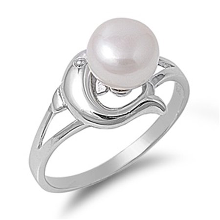 Animal Green Ring - Freshwater Simulated Pearl Dolphin Animal Nautical Ring Sterling Silver Band Size 5