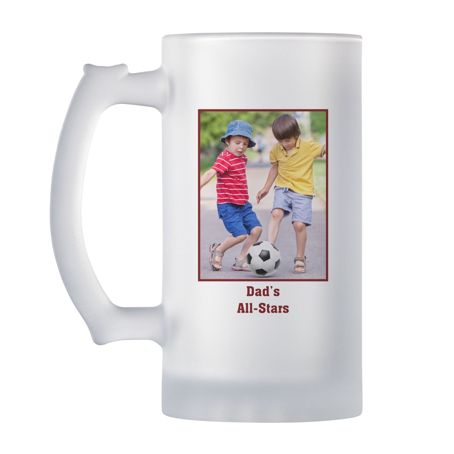 Personalized Photo Message Frosted Beer Mug - Available in 4 Colors