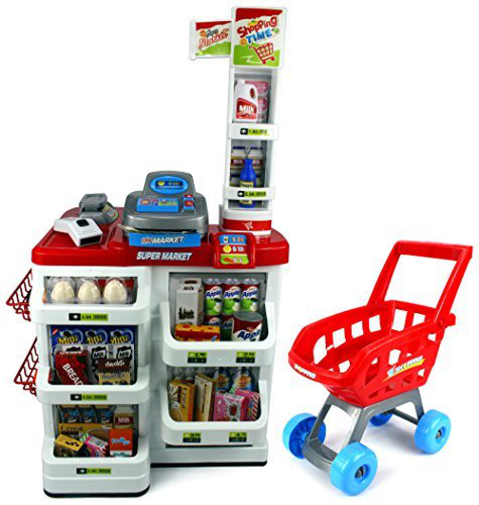 Velocity Toys Red Play House Super Market Children's Kid's Pretend Play Toy Food Play Set w/ Toy Cash Register, Working Scanner, Shopping Cart, Pretend Food and Money (Red)