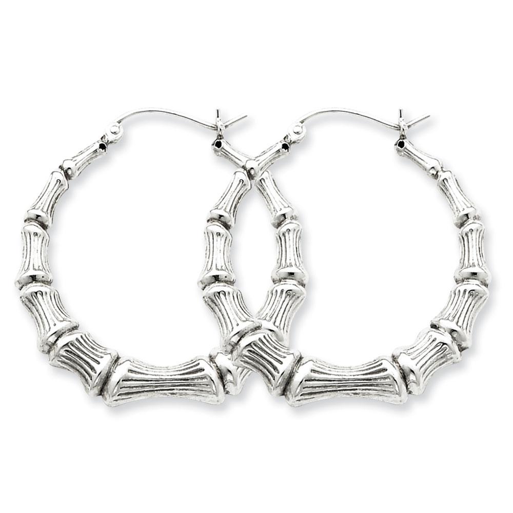 Sterling Silver Bamboo Hoop Earrings - 1.25 Inch Diameter -