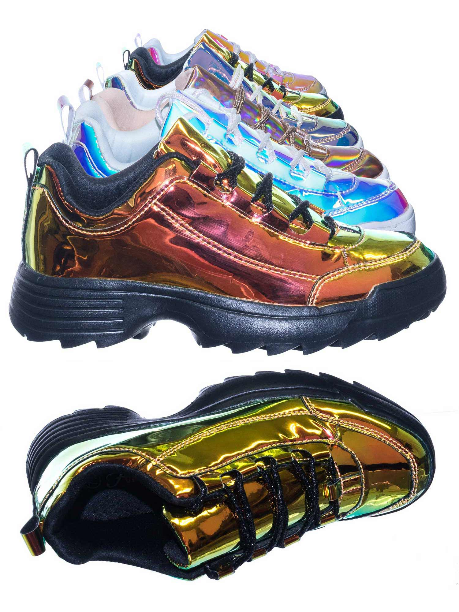 Adobe11 by Forever Link, Lightweight Foam Shark tooth Platform Holographic Vinyl Metallic Sneaker