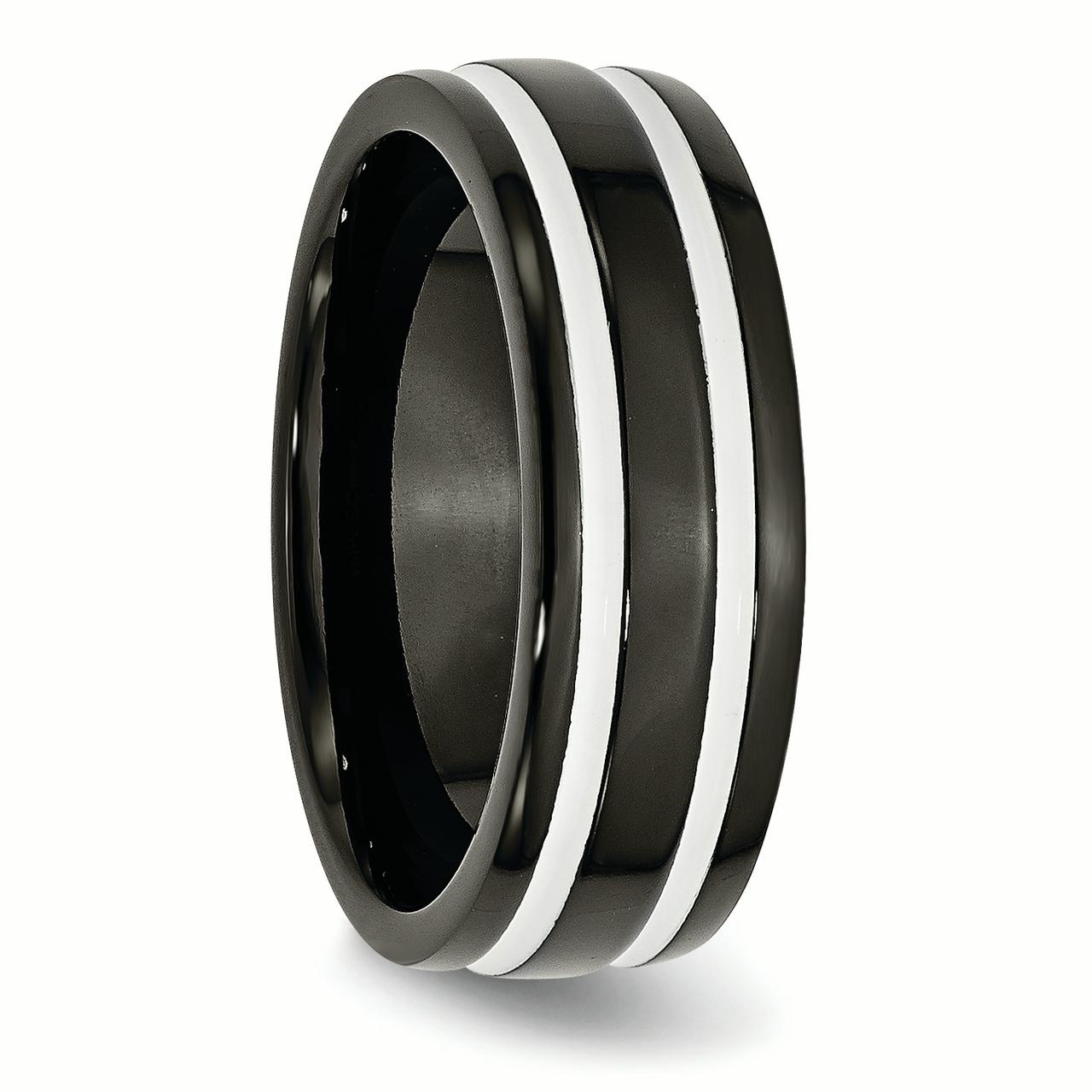 Titanium 8mm Black Plated Wedding Ring Band Size 8.50 Fashion Jewelry Gifts For Women For Her - image 4 of 6