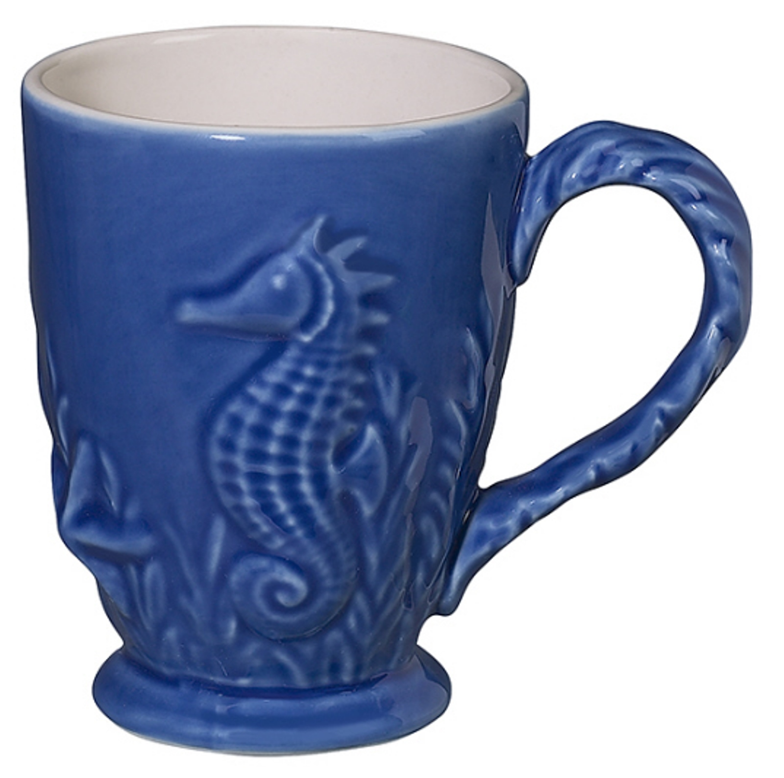 Nautical Ocean Beach Bright Blue Seahorse Coffee Latte Mug Andrea by Sadek
