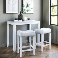 Nathan James Viktor Three-Piece Dining Set Kitchen Pub Table Marble Top White Wood Base Light Gray Fabric Seat