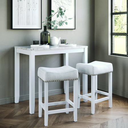 Viktor Three Piece Dining Set Kitchen Pub Table White Marble Top, White Wood Base, Light Gray Fabric Seat 3 Set Dining Tables