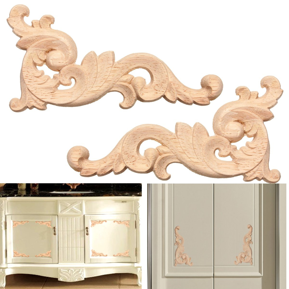12x6cm Wood Carved Decal Corner Onlay Applique Frame Door Wall Decor Unpainted New