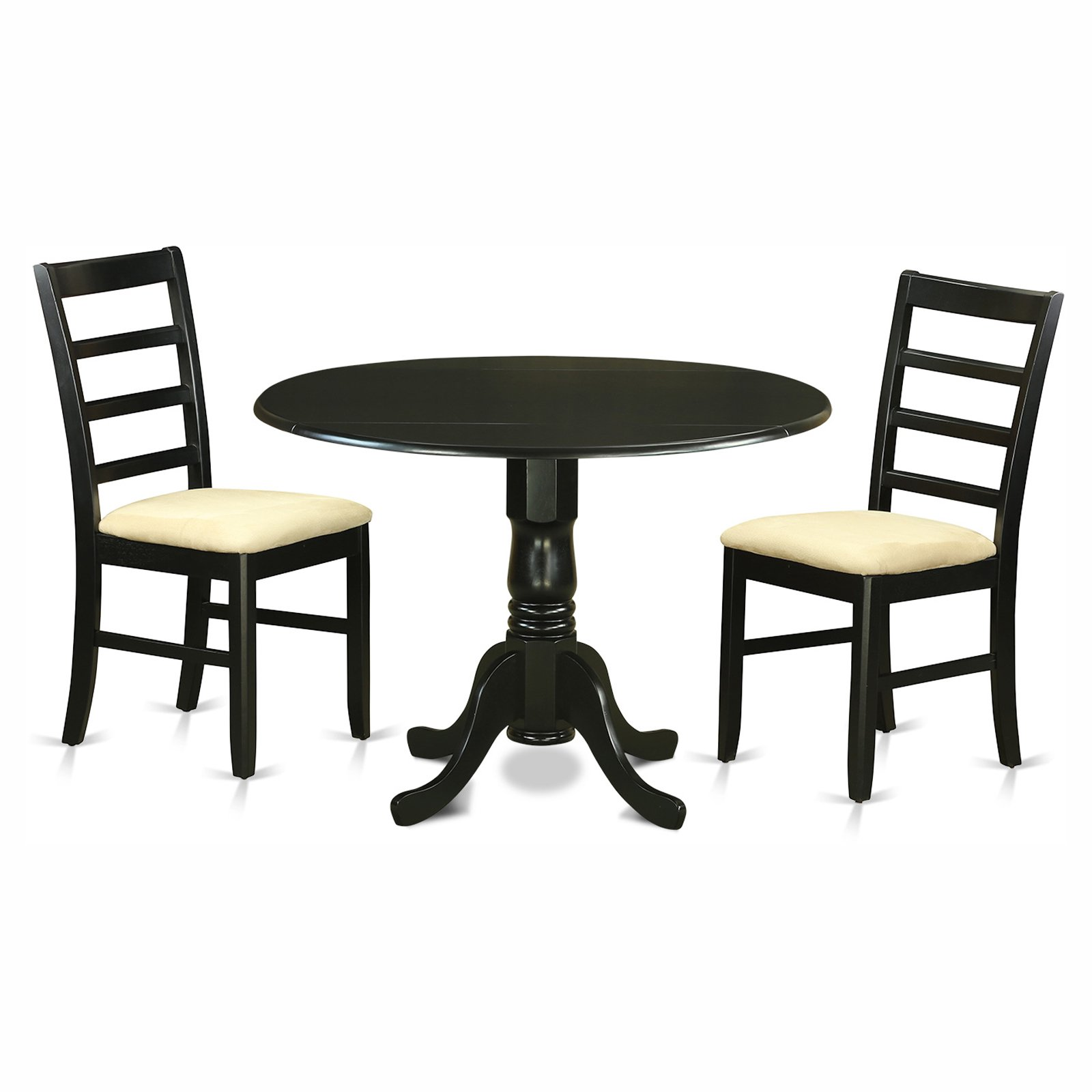 East West Furniture Dublin 3 Piece Drop Leaf Dining Table Set with Parfait Microfiber Seat Chairs
