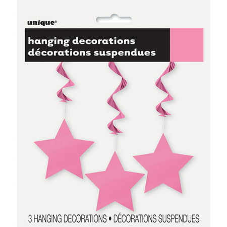 Star Hanging Decorations, 26 in, Hot Pink, 3ct for $<!---->