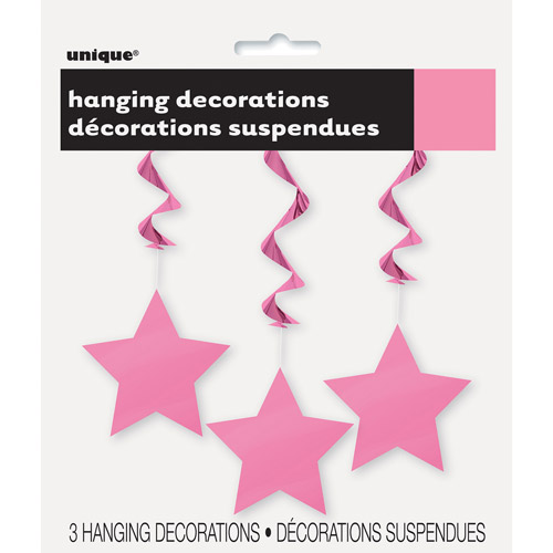Star Hanging Decorations, 26 in, Hot Pink, 3ct