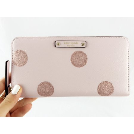 Kate Spade Haven Lane Neda Zip Around Wallet Lacey Pink Polka Dots Glitter