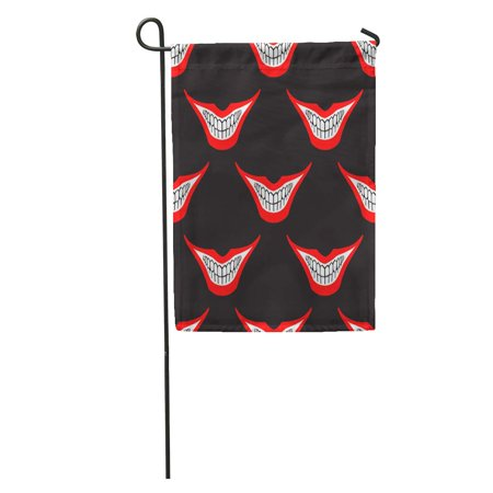 - SIDONKU Evil Clown Playing Joker Smile Pattern Creepy Spooky Scary Smiles Garden Flag Decorative Flag House Banner 12x18 inch