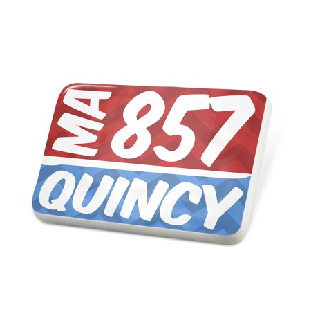 Porcelein Pin 857 Quincy, MA red/blue Lapel Badge – - Party City Quincy Ma