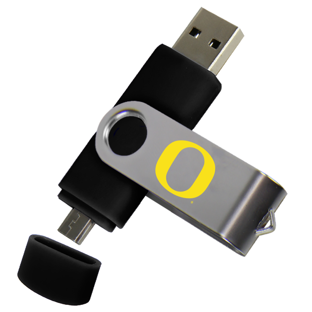 Oregon Ducks Dual Pro Micro to USB Drive 16GB Black