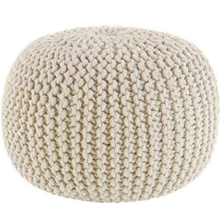 Fantastic Ottoman Poufs For Living Room Hand Knitted Cable Style Dori Pouf Floor Ottoman 100 Cotton Braid Cord Handmade Hand Stitched Truly One Of Squirreltailoven Fun Painted Chair Ideas Images Squirreltailovenorg