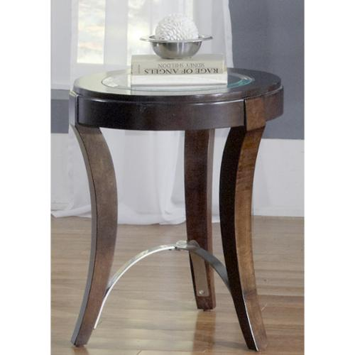 Liberty Dark Truffle Glass Top Round Side Table