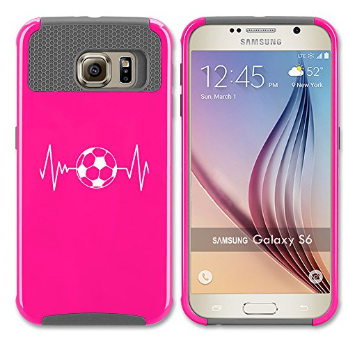 For Samsung Galaxy (S6 Edge) Shockproof Impact Hard Soft Case Cover Heart Beats Soccer (Hot Pink-Gray)