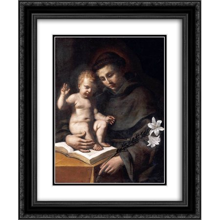 Guercino 2x Matted 20x24 Black Ornate Framed Art Print 'St Anthony of Padua with the Infant Christ ' ()