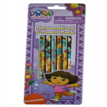 Dora the Explorer Personalized 6 Pencil Pack (One Pack)](Personalized Pens And Pencils)
