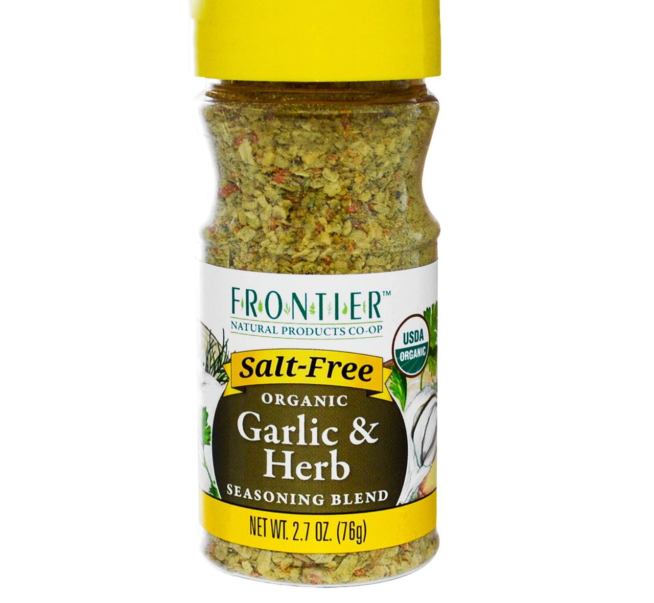 6 Pack : Frontier Salt Free Organic Seasoning, Garlic And Herb, 2.7 Ounce : Mixed Spices... by