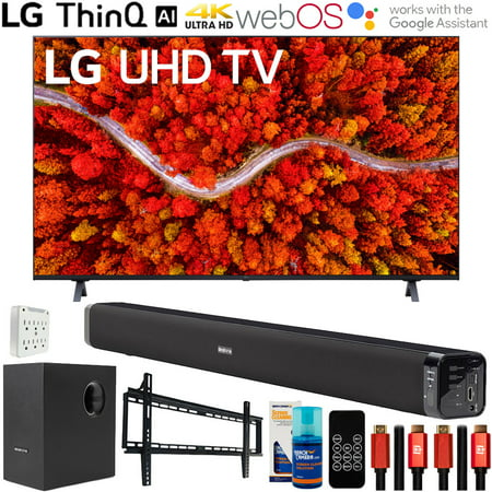 LG 50UP8000PUA 50 Inch 4K UHD Smart webOS TV (2021 Model) Bundle with Deco Gear Home Theatre Soundbar with Subwoofer, Wall Mount Accessory Kit, 6FT 4K HDMI 2.0 Cables and More
