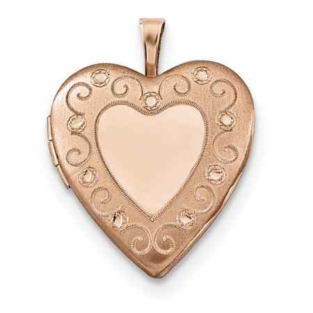 925 Sterling Silver Rose Gold Plated 20mm Heart Photo Pendant Charm Locket Chain Necklace That Holds Pictures Gifts For Women For Her 925 Silver Plated Heart