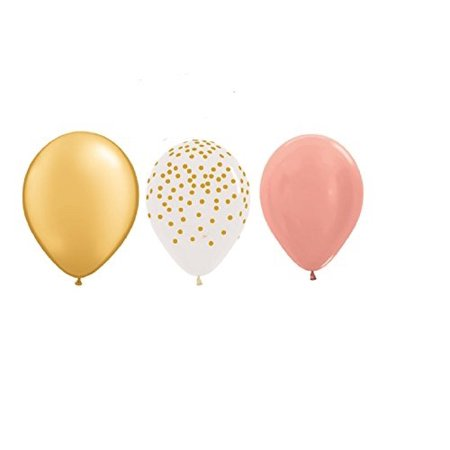15 new 11 inch balloons party rose gold , clear with gold dots & gold wedding favors prom shower birthday vhtf - Discount Prom Decorations