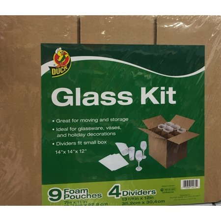 Duck Brand Glass Kit, 4 Corrugate Dividers & 9 Foam Pouches (Box Not  Included)