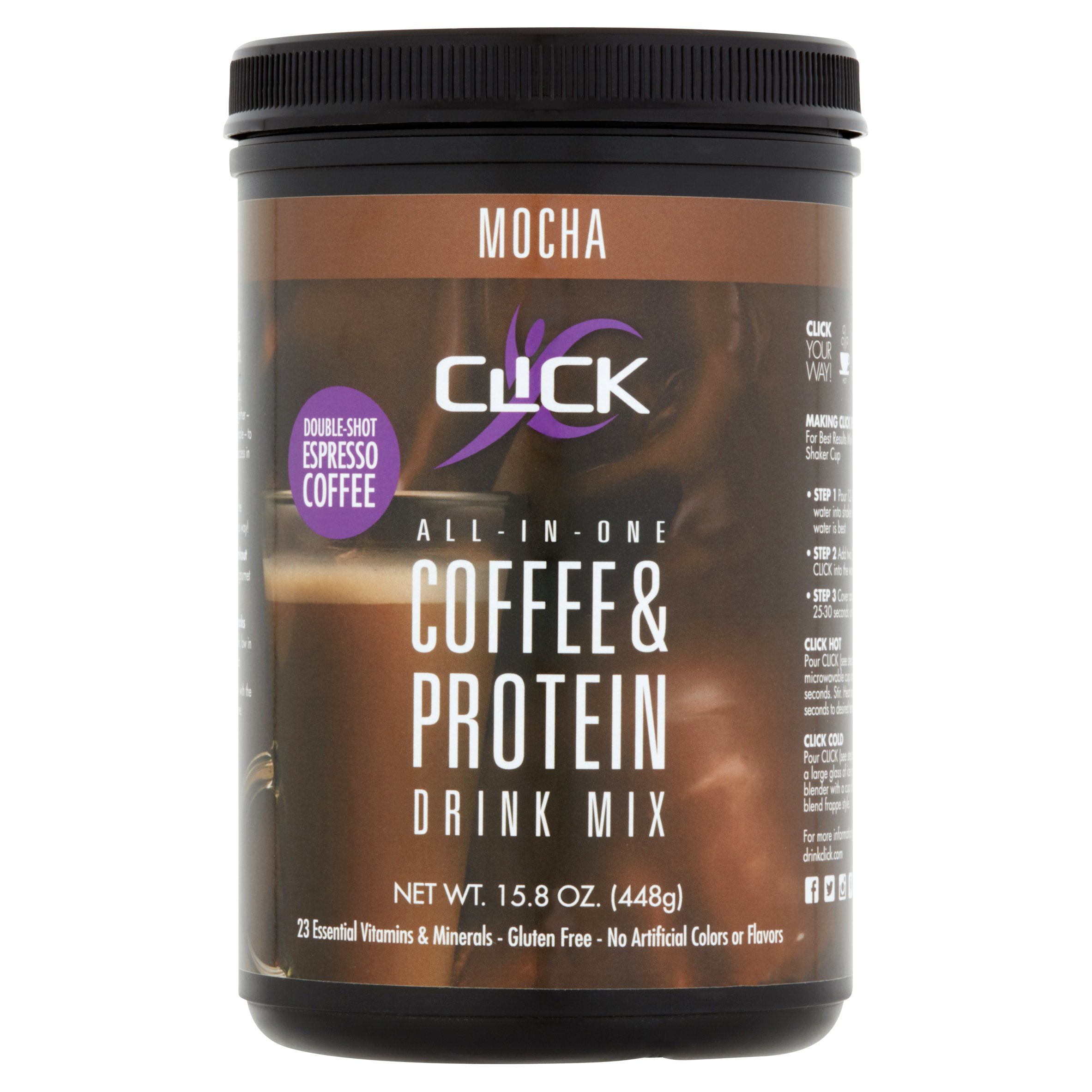 Click All-In-One Coffee & Protein Powder, Mocha, 15g Protein, 1 Lb
