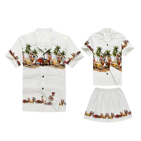 Matching Father Son Hawaiian Luau Outfit Men Shirt Boy Shirt Shorts White Cars M-4](Luau Menu)