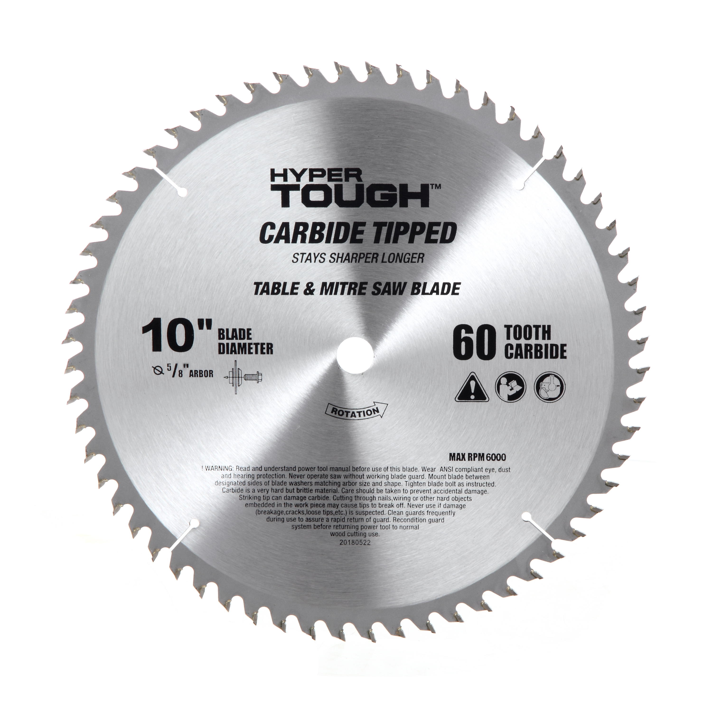 Hyper Tough AU30009K 10 in Carbide Tipped 60 TPI Saw Blade