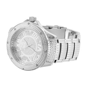Mens Real Diamond Ice Mania Joe Rodeo KC Techno Com Jojino Roman Numeral Watch