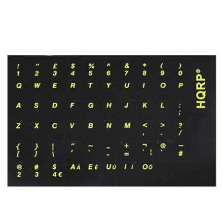 HQRP New USA UK Laminated QWERTY Keyboard Stickers for All PC & Laptops with Yellow Lettering on Black