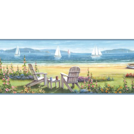 - Brewster DLR20021B Barnstable Blue Seaside Cottage Border Wallpaper
