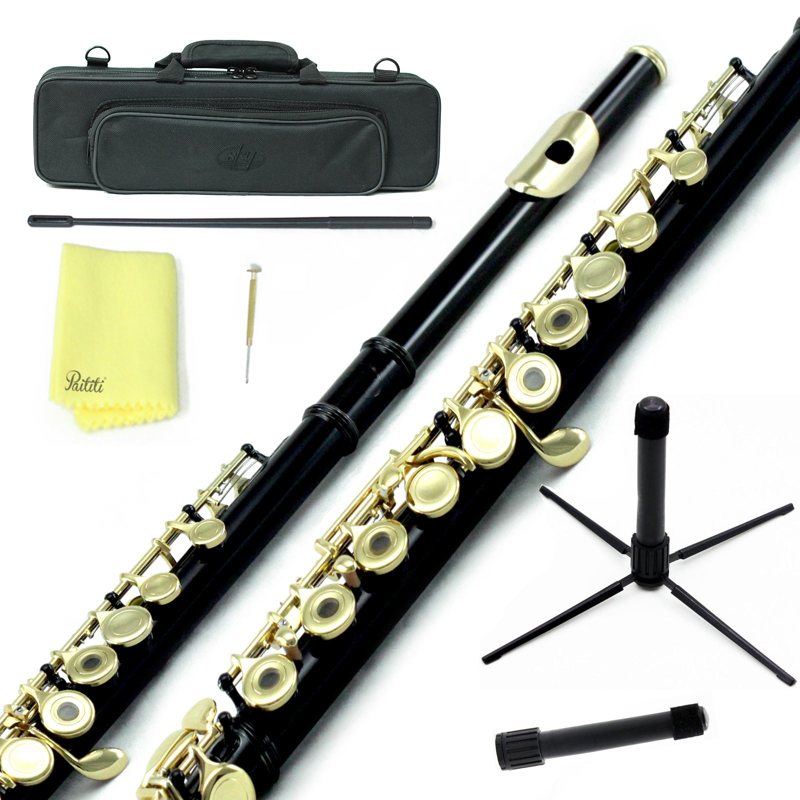 Sky Open Hole C Flute with Lightweight Case, Cleaning Rod, Cloth, Joint Grease and Screw Driver - Black Gold