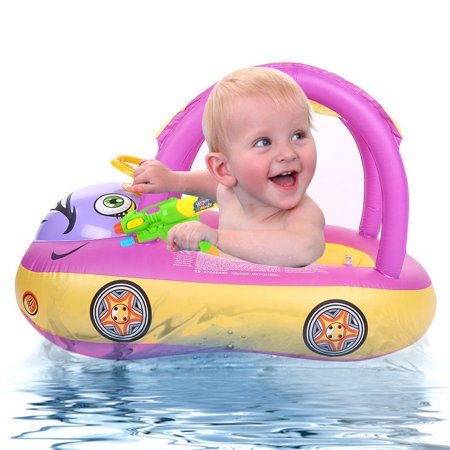 Baby Inflatable - Sunshade Baby Kids Float Seat Boat Inflatable Swim Swimming Ring Pool Water Fun