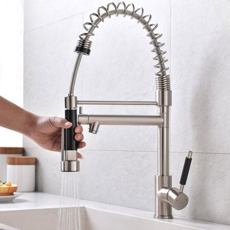 Zimtown Copper Double Handle Pull Down Sprayer Spring Kitchen Faucet, Kitchen Sink Faucet (Polished Copper Kitchen Faucet)