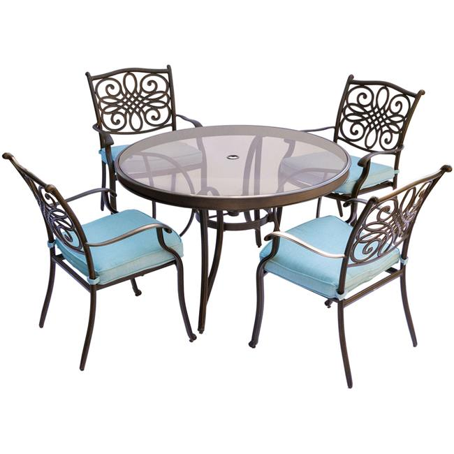 Traditions Dining Set with Chairs & Glass Table - 5 Piece, Blue