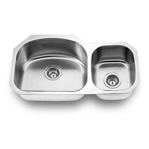 Yosemite Home Decor 31.875'' x 17.75'' Stainless Steel Undermount Double Bowl Kitchen Sink
